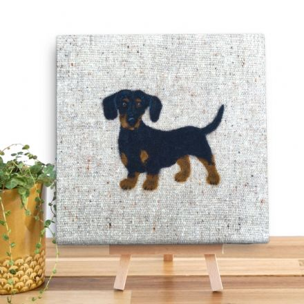 Dachshund Mini Wooden Canvas by Sharon Salt
